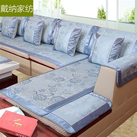 leather sofa with fabric seat cushions summer ice silk sofa cover cushion mat rattan sofa seat