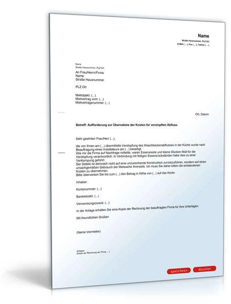 Brief An Krankenkasse Wegen Kosten Bernahme aufforderung zur 220 bernahme der kosten f 252 r verstopften