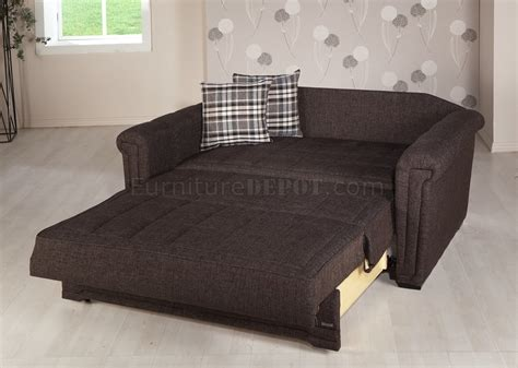 loveseat bed dark brown fabric modern convertible loveseat bed w pillows