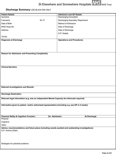 patient discharge summary template discharge summary template free premium