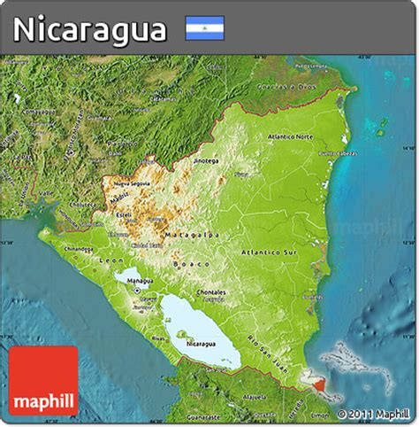 physical map of nicaragua free physical map of nicaragua satellite outside