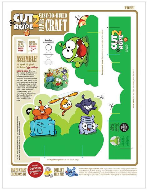 Cut The Rope Papercraft - cut the rope 2 papercraft desktop gremlins thứ cần