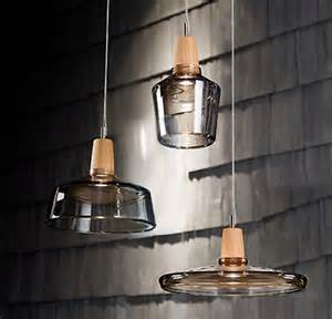 Modern Pendant Lighting by Modern Clear Glass And Wood Cap Pendant Lighting