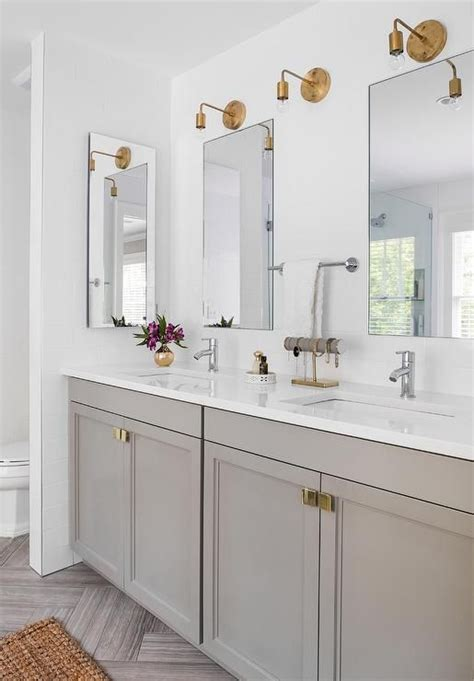 gray bathroom vanity stunning bathroom boasts a gray dual vanity adorned with