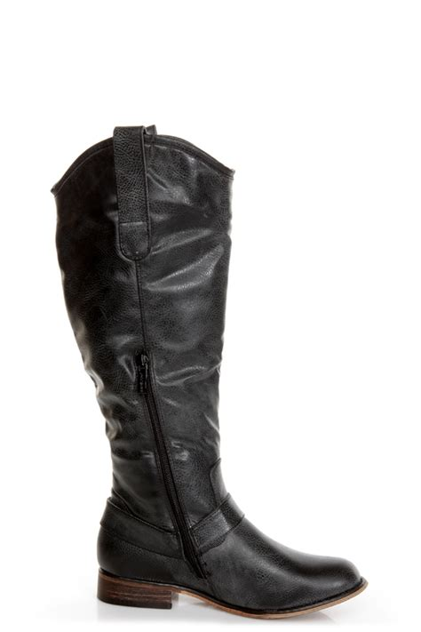 3 black knee high motorcycle boots 47 00