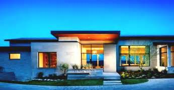 home design 1 story single story modern home design with green view landscape