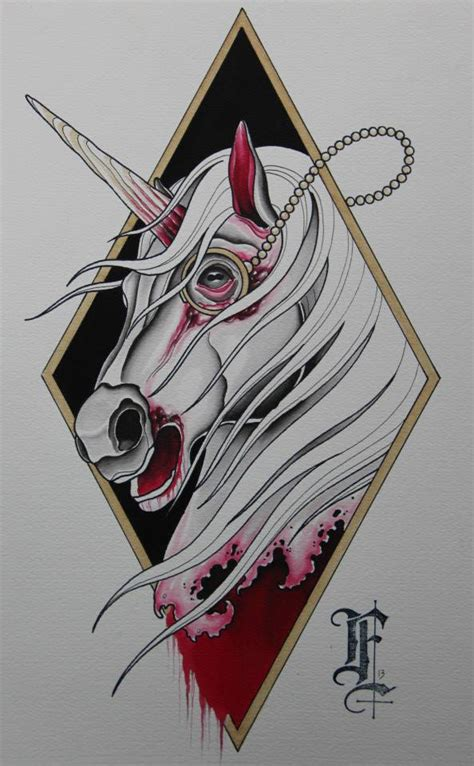 unicorn zombie tattoo idea best tattoo designs