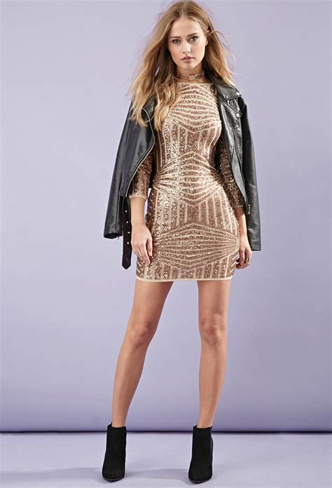sequined abstract pattern dress forever 21 sequined abstract patterned dress in metallic