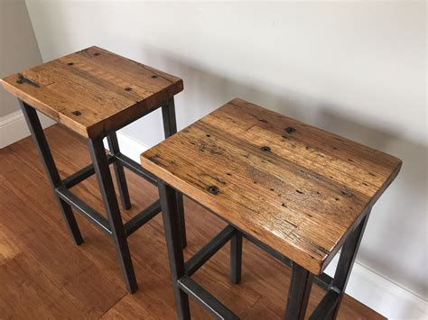 Handmade Bars - buy a crafted reclaimed oak wood bar stools w steel