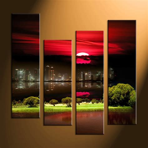 canvas prints 4 piece black city grass large canvas