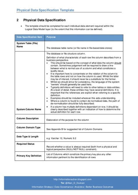 Data Specification Template 05 physical data specification template