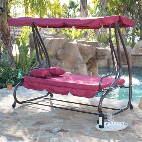 Outdoor Swing Bed Patio Adjustable Canopy Deck Porch Swinging Patio Chairs