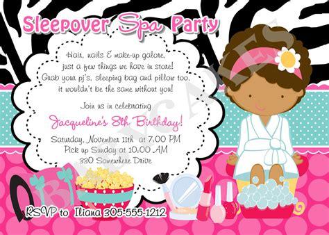 printable birthday invitations sleepover spa slumber party invitations free printable birthday