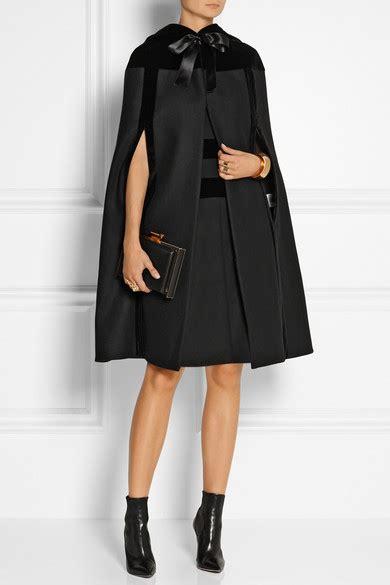 Net A Porter Mid Season Sale by Mcqueen Hooded Velvet Trimmed Wool Cape Net