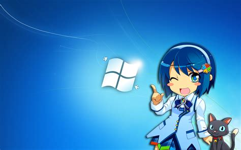 wallpaper anime windows 8 windows 7 anime girl with cat wallpaper 31080