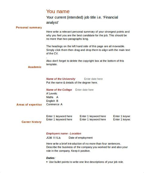 Cv Form Word by Blank Cv Template Word Templates Resume