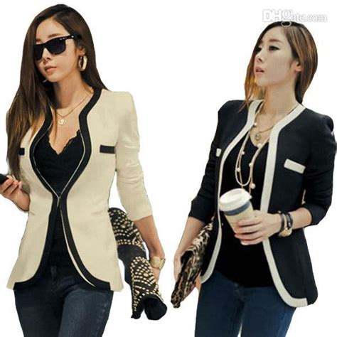 Korean Style Blazer Black New Korean Blazer s5q new korean style office contrast color coat