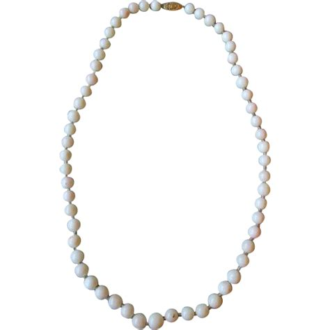 white coral bead necklace white coral bead necklace with 14k gold clasp from
