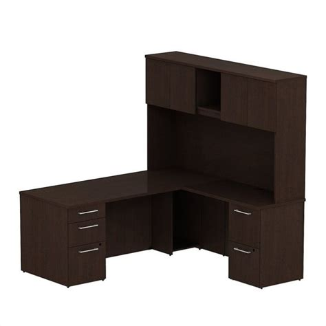 Bush L Shaped Desk With Hutch Bush Business 300 Series 72 Quot L Shaped Desk With Hutch In Mocha Cherry 300s050mr