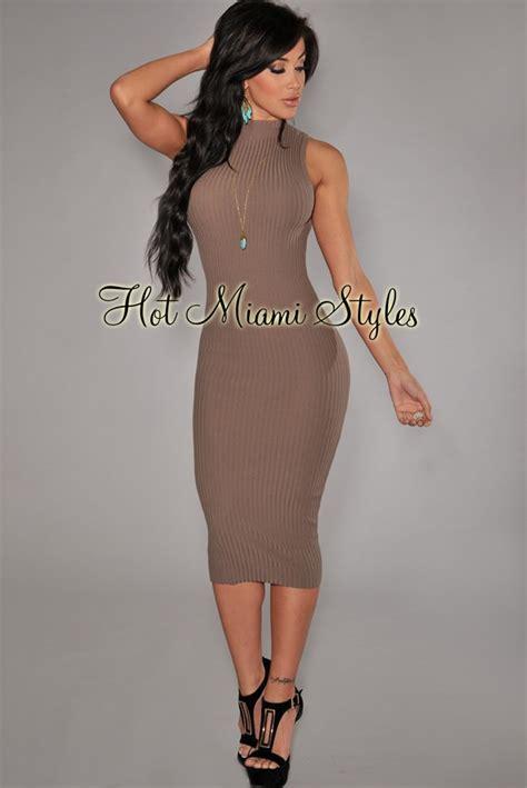 Mock Neck Midi Knit Dress taupe mock neck midi knit dress