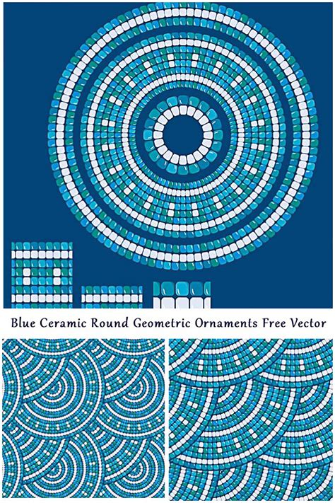mosaic pattern vector mosaic seamless pattern blue ornament vector free download
