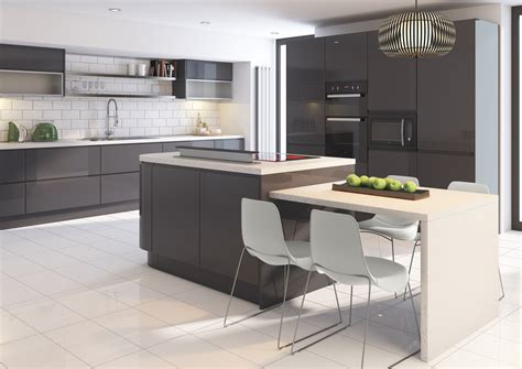 Grey Gloss Kitchen Cabinets by Cutting Edge Kitchens Jam Kitchens