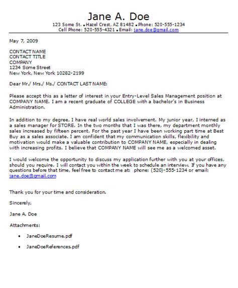 cover letter exles for entry level entry level cover letter