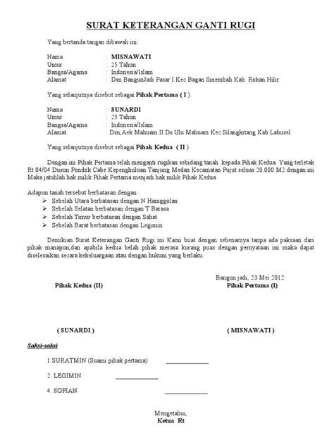 format surat keterangan ganti nama surat perjanjian ganti rugi