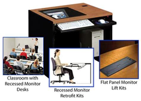 Recessed Monitor Computer Desk Computer Lab Desks School Computer Desks Computer Classroom Furniture School Computer Tables