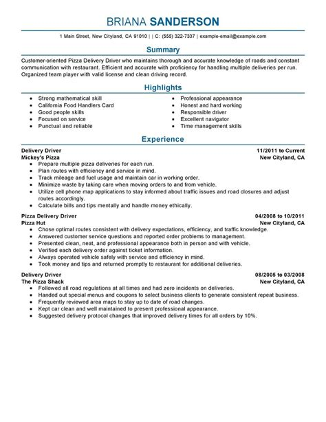 Delivery Driver Resume Exles by Pizza Delivery Drivers Resume Exles Transportation Resume Sles Livecareer