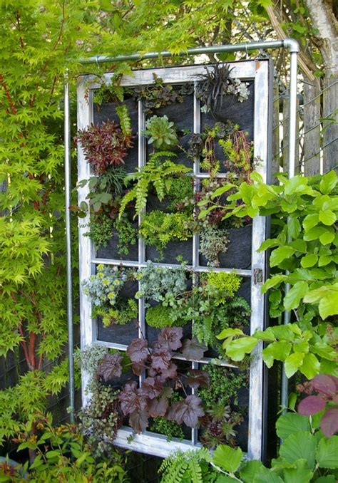 Vertical Garden Panel Hanging Garden Panel In Vintage Window Frame Portland Or