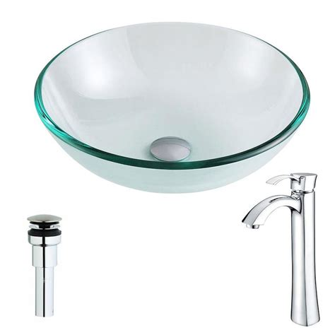 Clear Bathroom Sink Drain by Shop Anzzi Etude Series Clear Tempered Glass Vessel Bathroom Sink With Faucet Drain