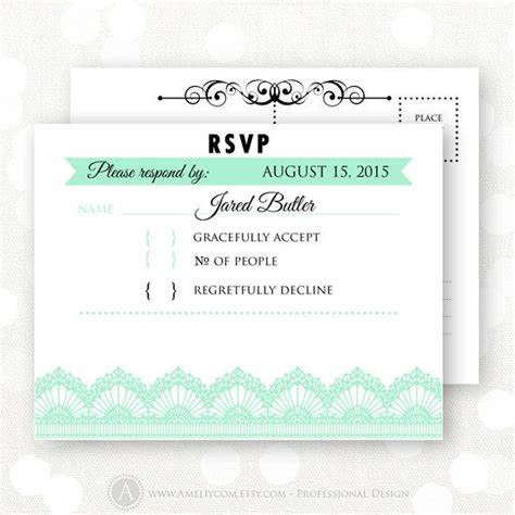 printable rsvp card printable rsvp card mint white lace wedding reply card
