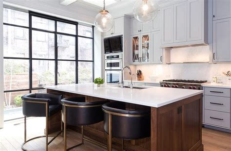 kitchen island stools with backs brown kitchen island with barrel back counter stools transitional kitchen