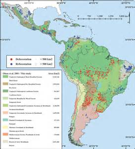 south america vegetation map chart forest loss in america