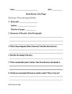 book report worksheets one page book review worksheet