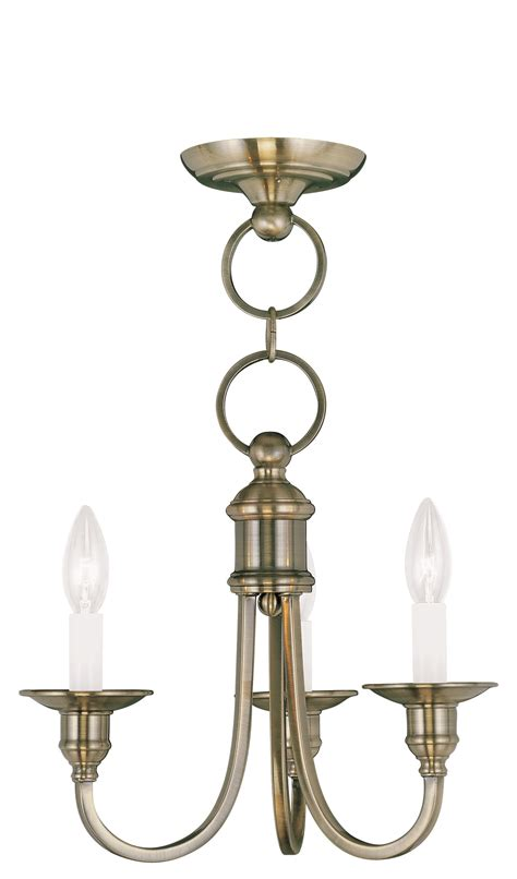 Chandelier Mount Livex Lighting Cranford Convertible Mini Chandelier Ceiling Mount Antique Brass 5143 01