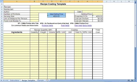 recipe cost card template excel free recipe costing template blank by chef s resources plate