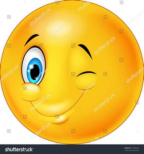 Eye Blink smiley happy emoticon with eye blinking stock