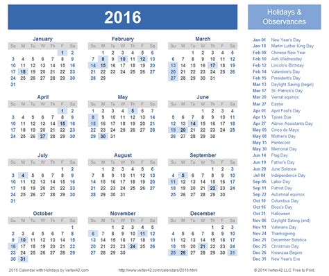 Us Calendar 2016 2016 Calendar Templates And Images