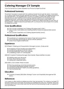 Catering Manager Description by Catering Manager Cv Sle Myperfectcv