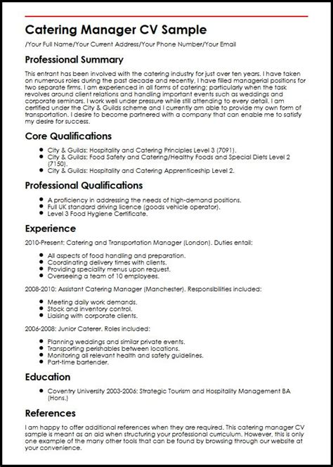 catering manager resume catering manager cv sle myperfectcv
