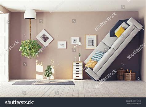 design concept living room strange living room interior 3d design stock illustration