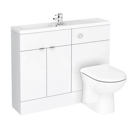 Bathroom Combination Furniture White Gloss Slimline Combination Furniture Pack 1100mm Wide Plumbing Uk