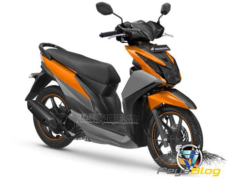 Motor Modif Skotlet Orange beat modif warna orange peysblog