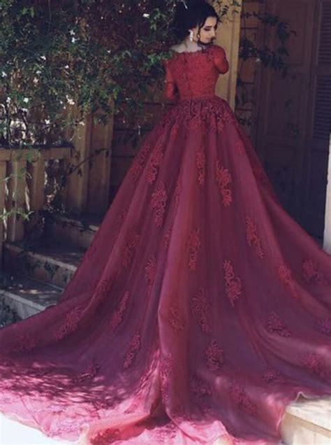 dark red boat neck dress ball gown boat neck long sleeves dark red tulle prom dress