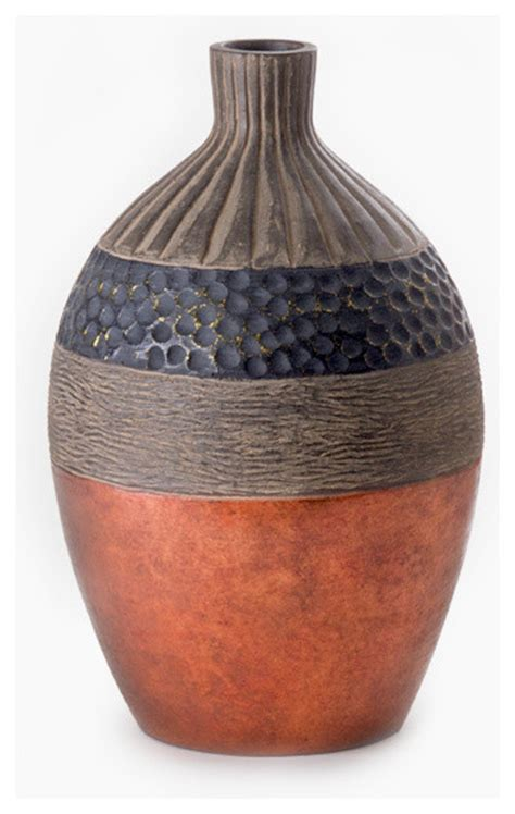 large unique copper brown and black vase transitional