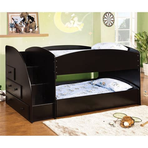 Shop Furniture Of America Merritt Black Twin Over Twin Bunk Beds With Mattress Included