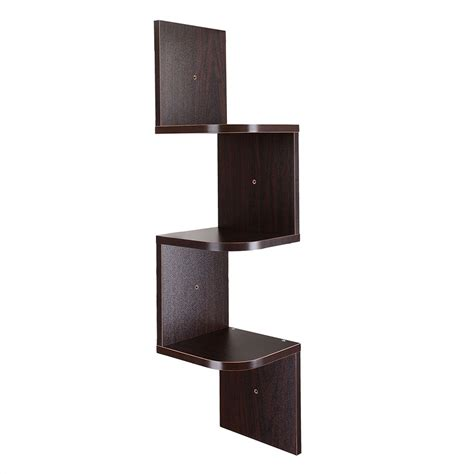 Wall Corner Rack by 3 Tiers Wall Mount Corner Zig Zag Wooden Shelf Floating Wood Rack Home Furniture Ebay