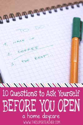 10 Questions To Ask Yourself Before Starting A Business by Best 25 In Home Daycare Ideas On Daycare